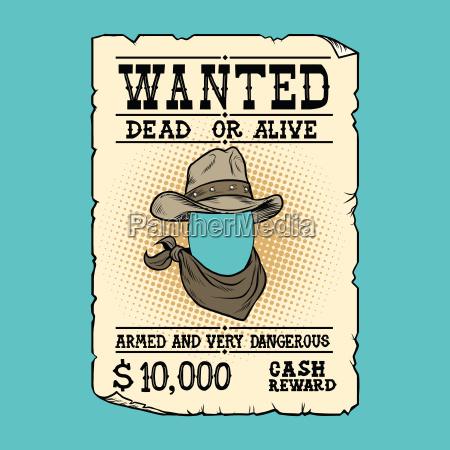western anzeige wollte tot oder lebendig