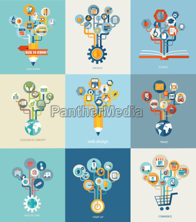 abstract trees with icons for web