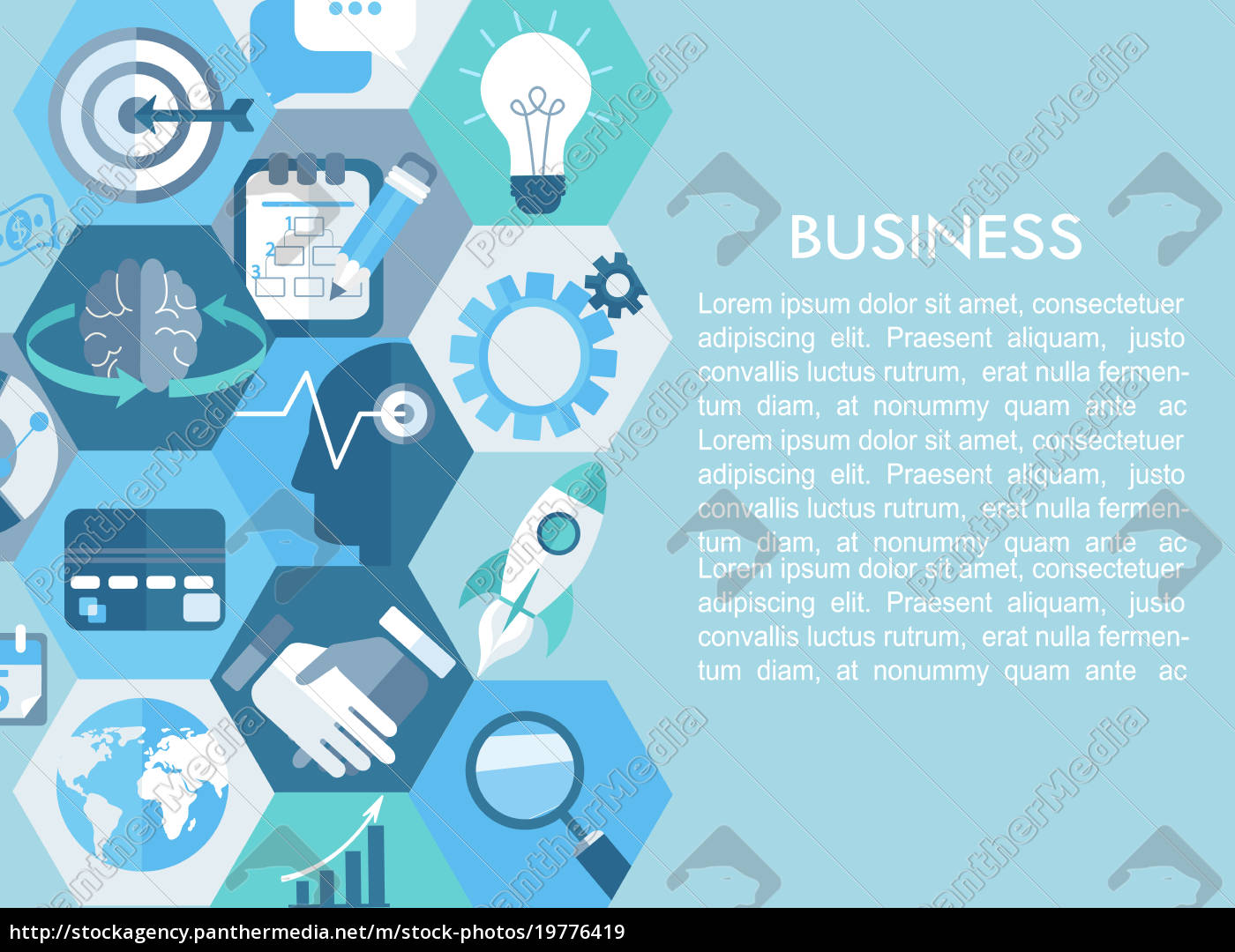 business, concept, with, flat, icons. - 19776419