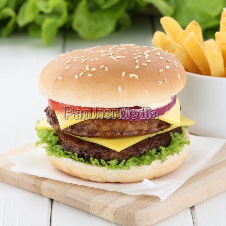 double cheeseburger hamburger and french fries