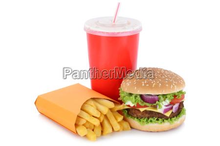 cheeseburger hamburger menue mit pommes frites