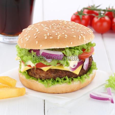 cheeseburger hamburger burger cola drink