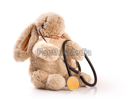pediatrician concept toy rabbit with