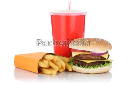 double cheeseburger hamburger menu with french
