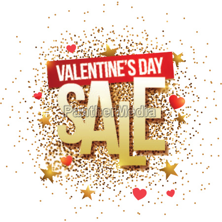 valentines day sale banner with gold