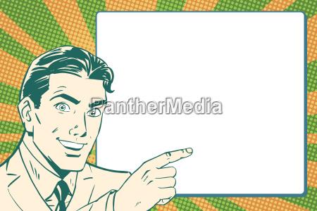 retro pop art businessman points to