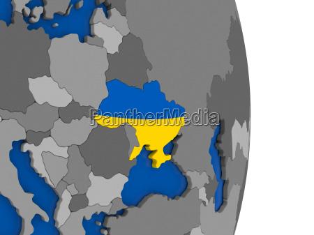 ukraine auf dem globus mit fahne
