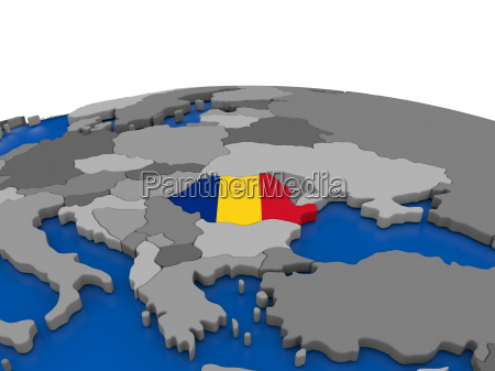 rumaenien auf 3d globus