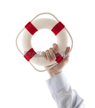hand holding a lifebuoy isolated on