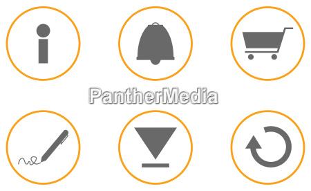 sammlung von 6 website icons orange