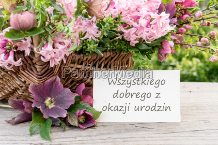 polish birthday card with hyacinths and