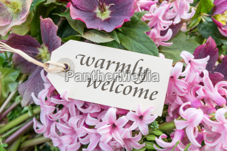 english greeting card with hyacinths and
