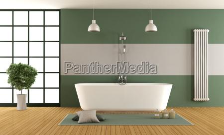zeitgenoessisches gruenes und graues badezimmer