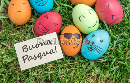 easter eggs and greeting card with