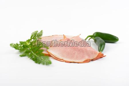 thin ham slices and green chili
