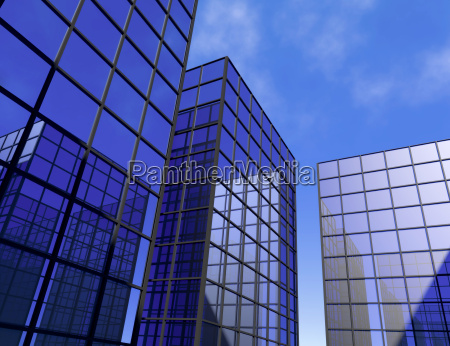 skyscraper office blue mirror glass windows