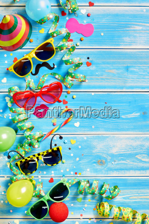 festive party theme background on wood