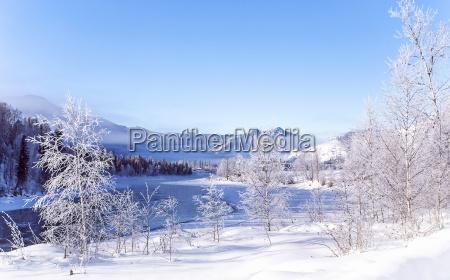 winter snowy landscape by a river