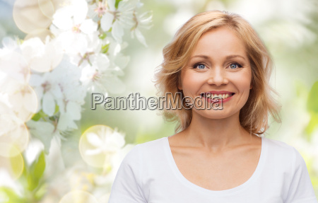 smiling woman in blank white t