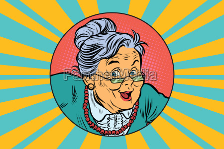 joyful intelligent grandmother pop art