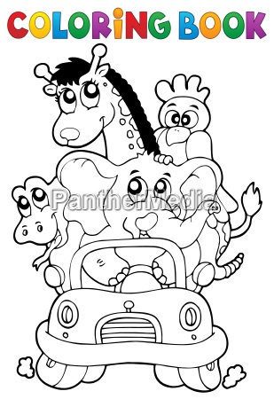 coloring book animals in car