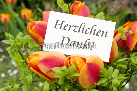 greeting card with tulips and german