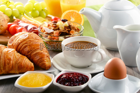 breakfast served with coffee juice egg