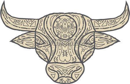 bull cow head front mandala