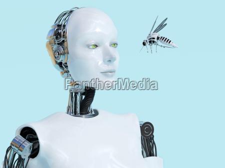 3d rendering von weiblichen roboter blick