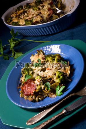 ribbon pasta casserole with chorizo and