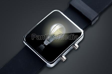 close up of black smart watch