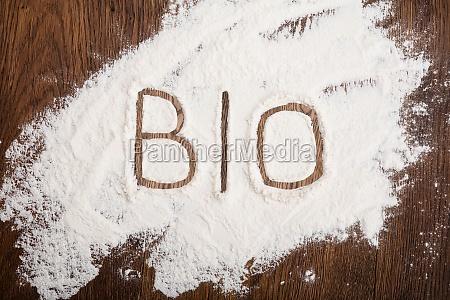 bio text written on flour