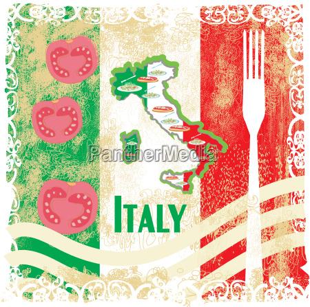 italien reise grunge karte mit nationalen