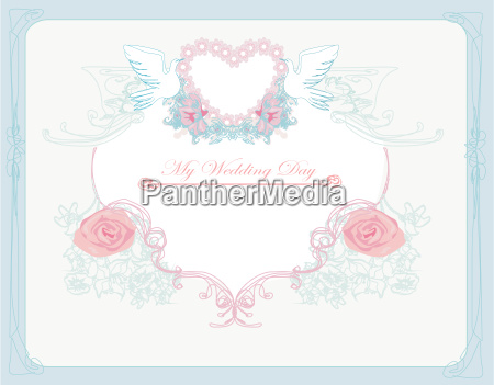 romantic card with love birds