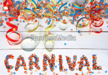 carnival background with text and streamers