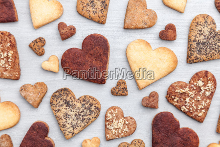 love concept variety of heart cookies