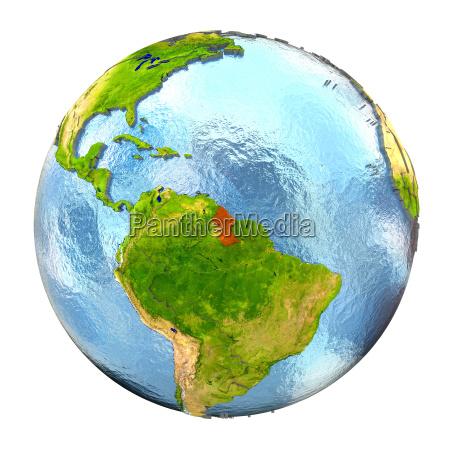 guyana in rot auf vollen erde
