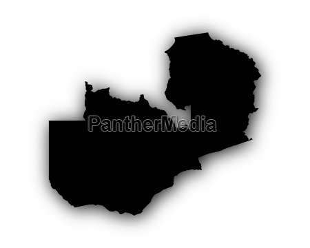 karte von sambia mit schatten
