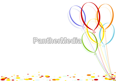 farbige konfetti und party ballons