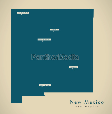 moderne karte new mexico usa