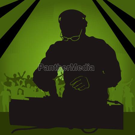 disco silhouette silhoutte schattenbild dj disko