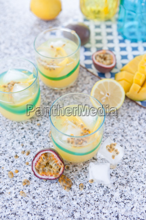 colorful cocktail with passion fruit