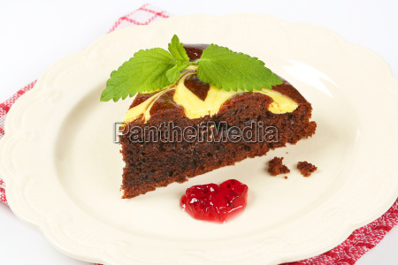 slice of chocolate cake with cheese