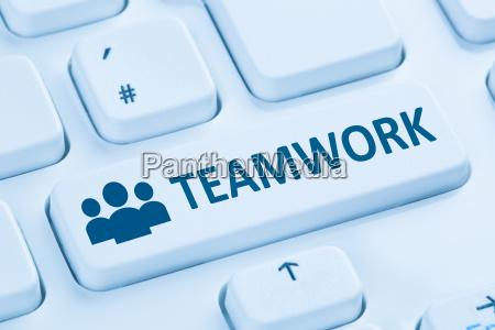 teamwork business team online internet blue