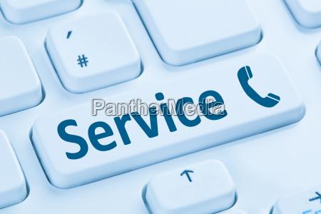 service hotline call phone blue computer