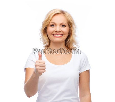 smiling woman in white t shirt