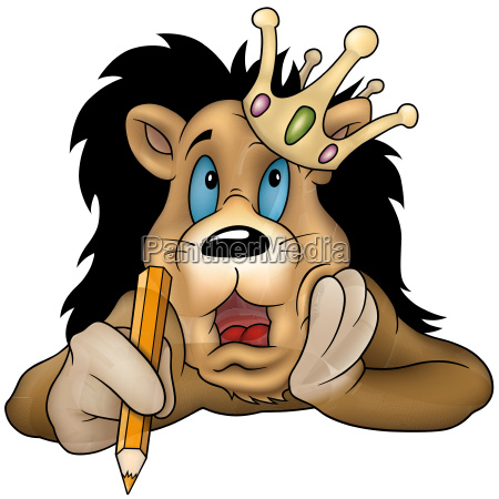 lion king holding a pencil