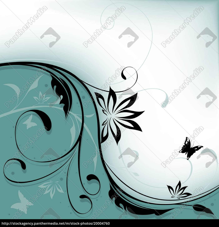 hintergrund, geteilt, von, einem, schwarzen, floral - 20004760