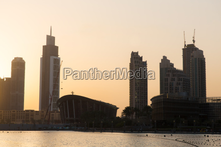 dubai city skyscrapers on seafront at