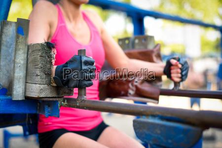woman exercising on sport equipment